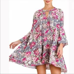 Umgee floral trapeze swing dress
